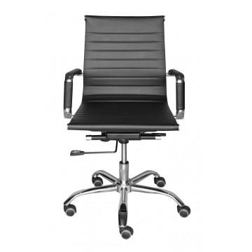 Καρέκλα γραφείου με χαμηλή πλάτη και ατσάλινα μπράτσα και υψηλή σχεδίαση τροχήλατη.