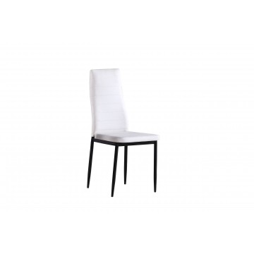 καρέκλα με ψηλή πλάτη και τεχνοδερμα λευκή
