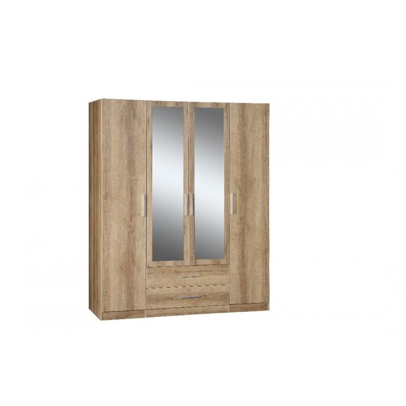 Ντουλάπα τετράφυλλη με καθρέπτες
