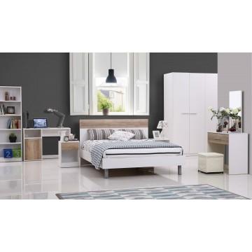 κρεβατοκάμαρα λευκή με τετράφυλλη ντουλάπα