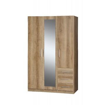 Ντουλάπα τρίφυλλη με καθρέπτη