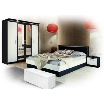 Σετ Υπνοδωματίου Betina: Κρεβάτι Διπλό 160/200 Ντουλάπα Τετράφυλλη με καθρέφτη Κομοδίνα 2 τμχ. Genomax 8866