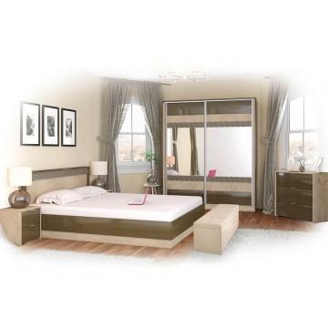 Σετ Υπνοδωματίου Briana: Κρεβάτι Διπλό 160/200 Ντουλάπα Τρίφυλλη με καθρέφτη Κομοδίνα 2 τμχ. Genomax 8862