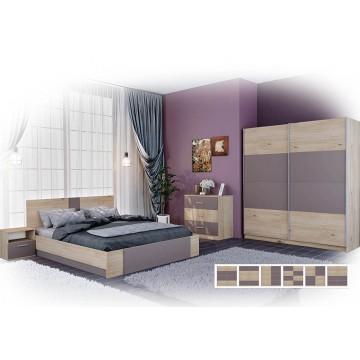 Σετ Υπνοδωματίου Lora: Κρεβάτι Διπλό 160/200 Ντουλάπα Τρίφυλλη συρόμενη με σχέδιο Κομοδίνα 2 τμχ. Genomax 8864