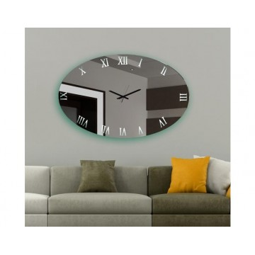 καθρέπτης οβάλ ρολόι τοίχου φωτιζόμενο