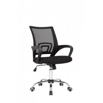 Πολυθρόνα γραφείου με μπρατσα, ανοξείδωτη βάση σε μαυρο χρωμα EF-0700002