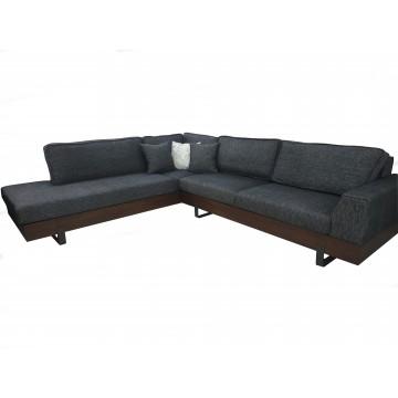 Καναπές γωνία SOFIA γκρι  με ξύλινο προφίλ και μεταλλικά ποδαρικά