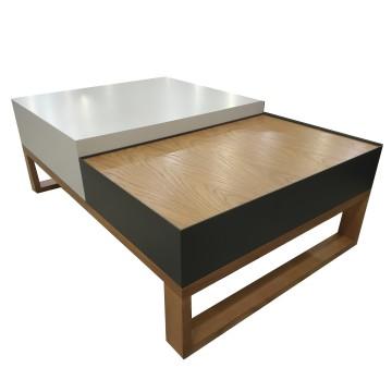 Τραπέζι σαλονιού με δυο επίπεδα και τρία χρώματα λευκό γκρι φυσικό με συρτάρι