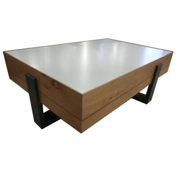 Τραπέζι σαλονιού status τρία χρώματα λευκό γκρι φυσικό με συρτάρι