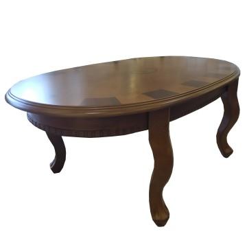 Τραπέζι σαλονιού Κλεοπάτρα οβάλ με μαρκετερη κλασικό  σε χρώμα καρύδι  με σκάλισμα