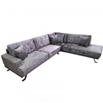 Καναπές γωνία Samantha μοβ βελούδινη 270μ*220μ με λεπτό προφίλ με δυνατότητα ανάλλαγης διαστάσεων