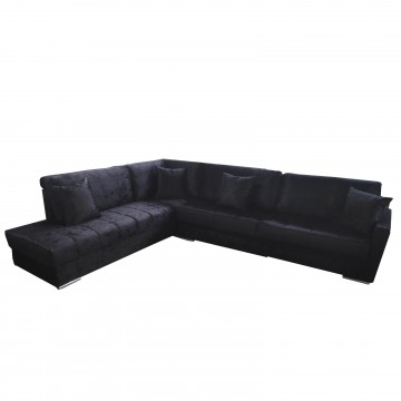 Καναπές γωνία FOX μαύρη βελούδινη 270μ*220μ με λεπτό προφίλ με δυνατότητα ανάλλαγης διαστάσεων