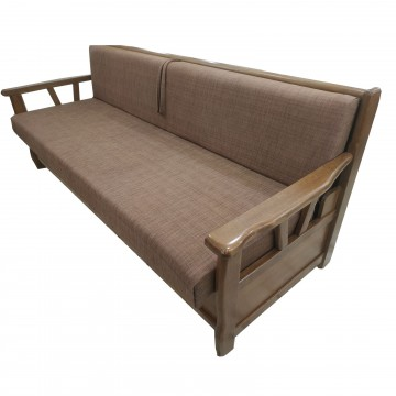 Καναπές κρεβάτι μπαούλο Ρουστίκ με ξύλινα μπράτσα και δυνατότατη αλλαγής διαστάσεων