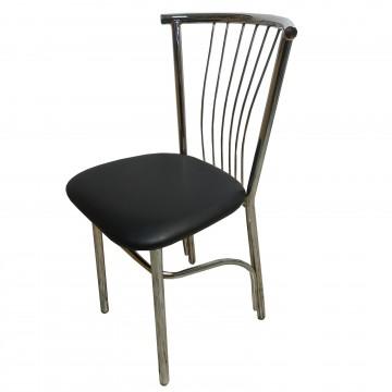 Καρέκλα τραπεζαρίας βεντάλια από σκελετό χρωμίου και επένδυση από δερματίνη σε μαύρο χρώμα