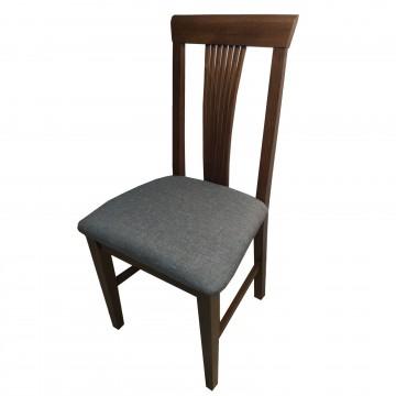 Καρέκλα τραπεζαρίας Κλεοπάτρα ξύλινη σε χρώμα οξιάς καρυδιά με ψηλή πλάτη και γκρι πάτο