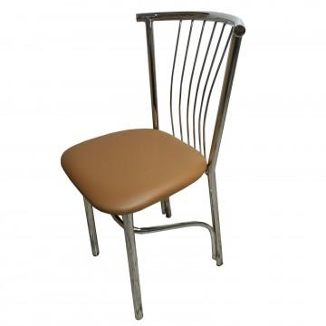 Καρέκλα τραπεζαρίας βεντάλια από σκελετό χρωμίου και επένδυση από δερματίνη σε μόκα χρώμα