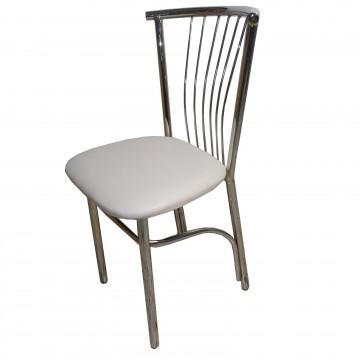 Καρέκλα τραπεζαρίας βεντάλια από σκελετό χρωμίου και επένδυση από δερματίνη σε λευκό εκρου  χρώμα