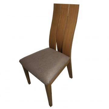 Καρέκλα τραπεζαρίας Κ15 από ξύλο δρυς καρυδιά χρώμα μα ψηλή πλάτη και καφέ πάτο