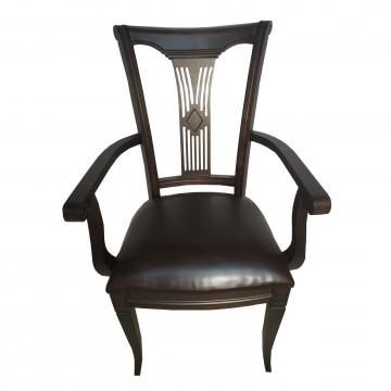 Καρέκλα τραπεζαρίας με μπράτσα Π101 από ξύλο οξιάς σε καρυδιά σκούρο χρώμα με καφέ πάτο.