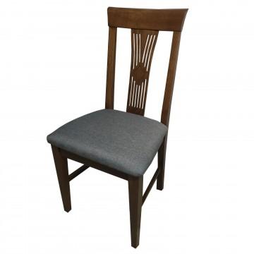 Καρέκλα τραπεζαρίας Κ68 ξύλινη σε χρώμα οξιάς καρυδιά με ψηλή σκαλιστή  πλάτη και γκρι πάτο