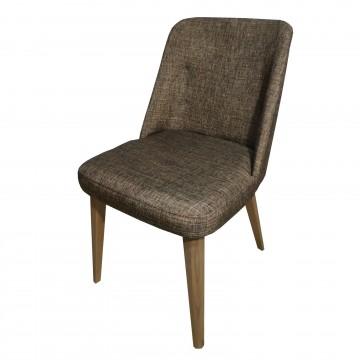 Καρέκλα τραπεζαρίας Κ92 μοντέρνας γραμμής καφέ ύφασμα
