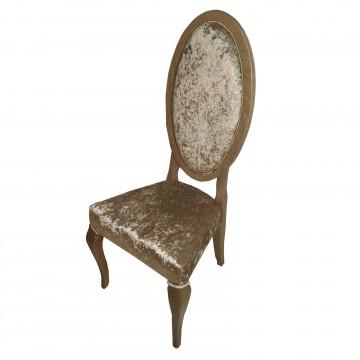 Καρέκλα τραπεζαρίας Κ102 από μασίφ ξύλο οξιάς χρώματος γκρι ελιάς  με οβάλ πλάτη και μπεζ ύφασμα