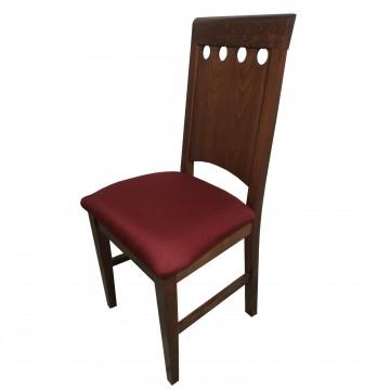 Καρέκλα τραπεζαρίας Κ67 ξύλινη σε χρώμα οξιάς καρυδιά με ψηλή σκαλιστή πλάτη και βυσσινή πάτο