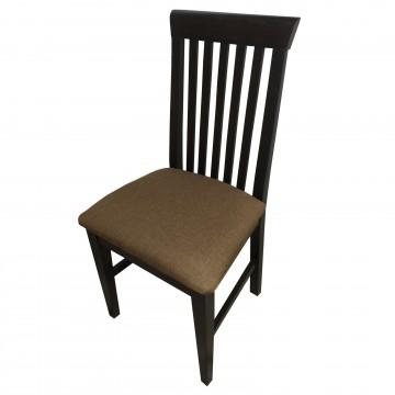 Καρέκλα τραπεζαρίας Κ60 ξύλινη σε χρώμα οξιάς καρυδιά με ψηλή σκαλιστή πλάτη και καφέ πάτο