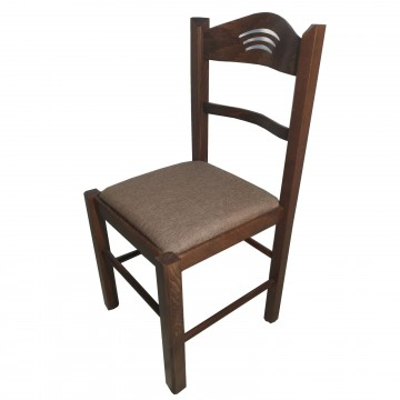 Καρέκλα τραπεζαρίας Κ72 ξύλινη καρυδιά χρώμα  με καφέ κάθισμα και σχέδιο στην πλάτη