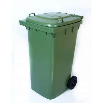 Κάδος απορριμάτων 120 λίτρα χρώματος πράσινος με ρόδες επαγγελματικός