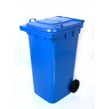 Κάδος απορριμάτων 120 λίτρα χρώματος μπλε με ρόδες επαγγελματικός