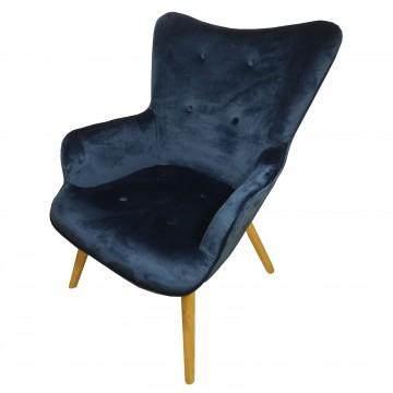 Πολυθρόνα LARA βελούδο χρώμα μπλε με ψηλή πλάτη και καπιτονέ σχέδιο με ρέλι και ξύλινα πόδια χρώματος φυσικό