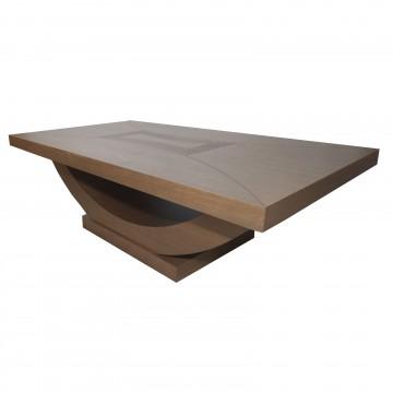 Τραπέζι σαλονιού Βάρκα χρώματος γκρι ελιάς με ανάγλυφο σχέδιο στο νταμπλά