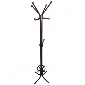 Καλόγερος ρούχων HANG1 μεταλλικός καφέ σφυρήλατο μονοκόμματος με ξύλινα τελειώματα ηλεκτροστατική βαφή και θήκη για ομπρέλες