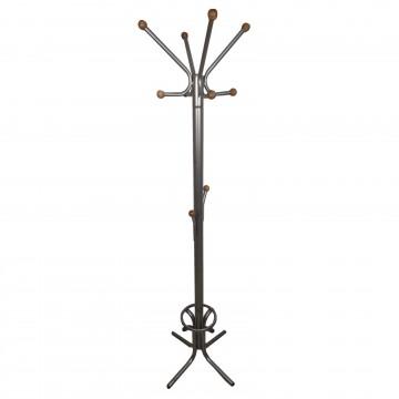 Καλόγερος ρούχων HANG1 μεταλλικός γκρι σφυρήλατο μονοκόμματος με ξύλινα τελειώματα ηλεκτροστατική βαφή και θήκη για ομπρέλες