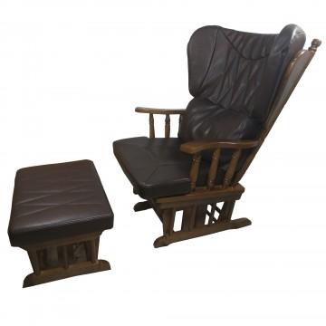 Πολυθρόνα κουνιστή ξύλινη Αμαλία με υποπόδιο κουνιστό χρώματος καρυδιά με μαξιλάρι από καφέ τεχνοδερμα