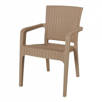 Πολυθρόνα πλαστική ραταν πολυπροπυλένιο cappuccino