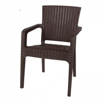 Πολυθρόνα πλαστική ραταν πολυπροπυλένιο καφέ