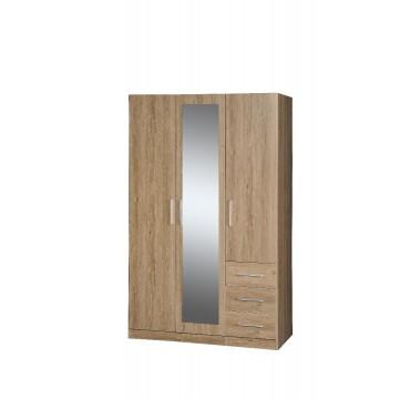 Ντουλάπα τρίφυλλη με καθρέπτη και τρία συρτάρια σε χρώμα φυσικό και γκρι 109 120εκ*60εκ*2μ