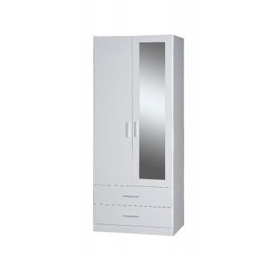Ντουλάπα δίφυλλη με καθρέπτη ολόσωμο σε χρώμα λευκό 808 82εκ*60εκ*2μ