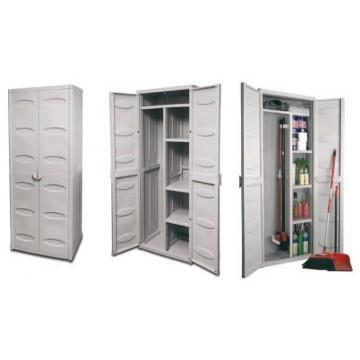Πλαστική ντουλάπα για σκούπα και τέσσερα ράφια  ψηλή γκρι χρώμα με δυο πόρτες και θέση για λουκέτο.