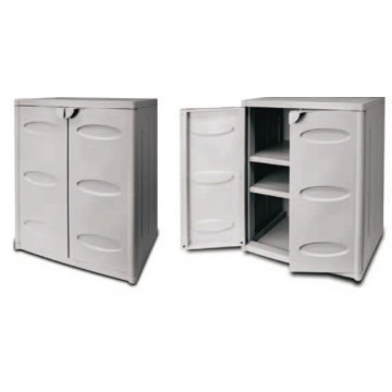 Πλαστική ντουλάπα με δυο ράφια χαμηλή γκρι χρώμα με δυο πόρτες και θέση για λουκέτο.