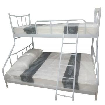 Κουκέτα μεταλλική χαμόγελο με κρεβάτι διπλό 150*200 και μονό 90*200 με κρεβατοσανιδα σε λευκό χρώμα
