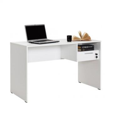 Γραφείο λευκό γυαλιστερό 120x60x75 με συρτάρι και βοηθητικό χώρο  για φορητό υπολογιστή