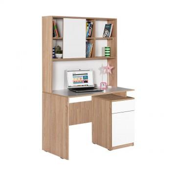 Γραφείο με βιβλιοθήκη φυσικό και λευκό 105x56x170 με συρτάρι και ντουλάπι με ράφι
