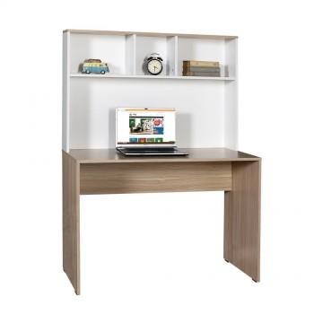 Γραφείο με βιβλιοθήκη φυσικό sonoma και λευκό 110x52x149 για φορητό υπολογιστή