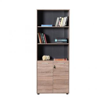 Βιβλιοθήκη ντουλάπι γραφείου 2φηλη με κλειδαριά και ράφια σταχτί χρώμα 72x34x187 εκ