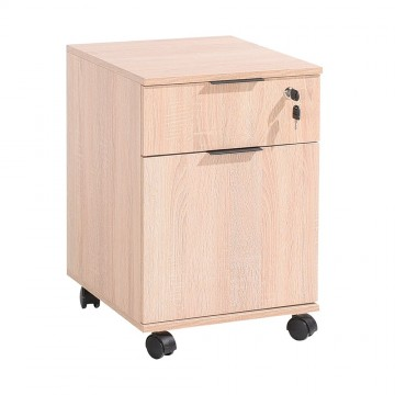 Συρταριερα γραφείου φυσικό sonoma με συρτάρι κλειδαριά και ντουλάπι τροχήλατη 41x41x61 εκ
