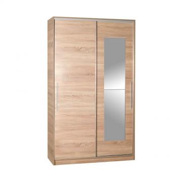 Ντουλάπα συρόμενη φυσικόΝτουλάπα συρόμενη φυσικό sonoma με καθρέπτη κρεμάστρα και εσωτερικά πατάρια 120x60x207εκ