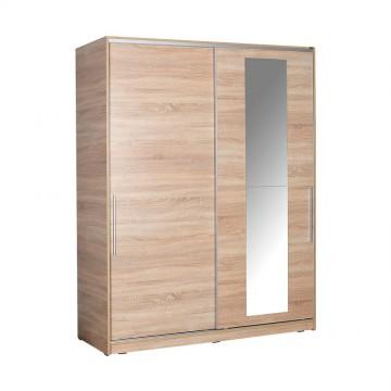 Ντουλάπα συρόμενη φυσικό sonoma με καθρέπτη κρεμάστρα και εσωτερικά πατάρια 160x60x207εκ